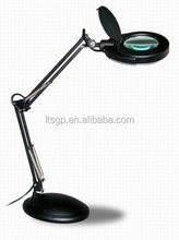 Swing arms magnifying lamp with base ;T4 12W; glass magnifier