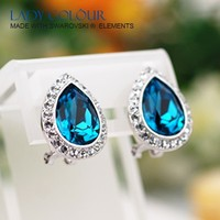 E12482a Hot sale Square Drop Blue Crystal Earring Zinc Alloy 18K Champagne Gold Plated With Import crystal New Jewelry Wholesale