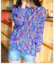 De moda del bloque del Color de <span class=keywords><strong>ganchillo</strong></span> suéter de punto