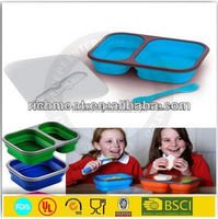 Collapsible stackable silicone food container set