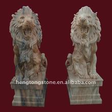 Red Marble Lions in Pair