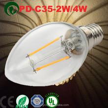 LED Filament candle bulb E27 cap 2W, 4W, 6W new style led e12 filament
