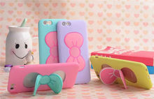 cute butterfly phone case with stand for iphone5/6/6 plus,silicon colorful cover case for iphone
