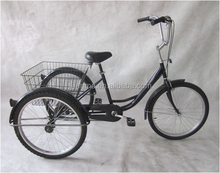 24' 6 speed steel tricycle cargo trike three wheels bicycle made in china