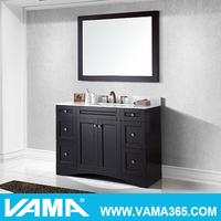VAMA 48 Inch Single Espresso Marble Top Bathroom Cabinet Classic Wood