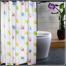 Printed E-co Friendly Waterproof PE Fabric Bathroom Shower Curtain