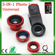 Mobile Phone lens 3 in 1 Lens 180 Degree FishEye + 0.67 x Wide Angle + Marco Lens