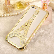For iPhone 5 iPhone 6 iPhone 6 plus Fashion Deluxe Eiffel Tower Diamond Aluminum Chrome Stand Bumper Case