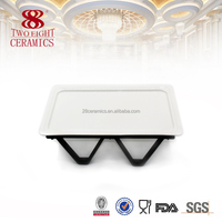 OEM creative ceramic buffer plates , divided dish for hotel used