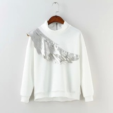 2015 Autumn Women Casual Wing Round Neck White and Black Hoodies