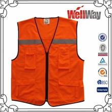 100% polyester mens workwear fluorescent reflective tape 3M hi vis orange safety reversible vest