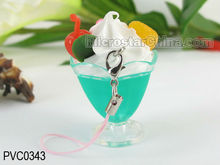 Hot Sale Colourful PVC Imitation Food Cup Charm Phone Pendant