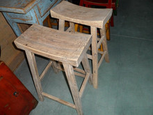 Tough heavy old wooden stool