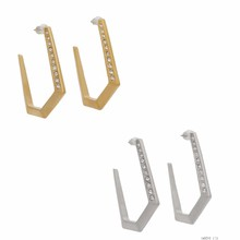 Yiwu Over Stock Hot New Products For 2015 Earrings Jewellery Sand Dunes Pave Pentagon Hoop Earring