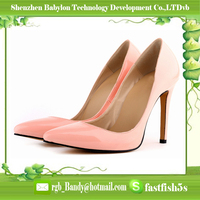 Cheap price high heel shoes candy color leather lady footwear