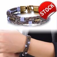 Vintage Handmade Leather Man Bracelets Fashion Charm Anchor Design Clasp Men Jewelry Cheap Price Accessories