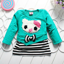 OEM new design cartoon cat printing black and white stripe bow stitching one year baby party dresses