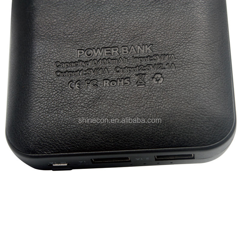 Hot selling 2 USB 2.1A output leather Cover 10400mah mobile Power Bank for iphone4/5/6
