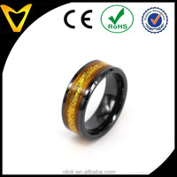 Fashion Jewelry 8MM Beveled Edge Black Ceramic Smart Ring With Gold Glitter and NFC Dics Inlay, Wholesale NFC/Smart Ring Ceramic