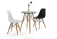 MDF leisure black table with beech wood legs TB-11