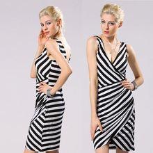 Stylish lady women's v-neck sleeveless slim cocktail party short black and white striped dress yc000068