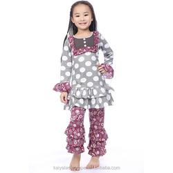 2015 baby girls fall gray polk dot bib dress and floral ruffle pant sets,autumn fashion for kids