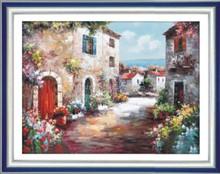 """The house & flowers beside the Mediterranean "" DIY Full Diamond Painting"