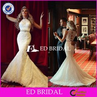 CE1130 Gergeous High Neck With Delicate Lace Mermaid Bodycon Wedding Dress