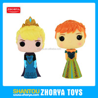 """Non-toxic 7"""" frozen Kawaii Cartoon snow queen doll kids Elsa and Anna action figures Vinyl toys with BB whistle for girls"""