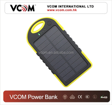 2015 New Arrival Portable Solar Panel Power Bank 5000mah Solar Power Bank,Waterproof Power Bank