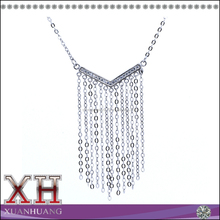 Beautiful and Hot Sale Sterling Silver White Diamond V Shaped Chain Dangling Necklace