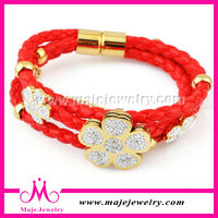 Women charms multi leather band plain leather bracelet wrap crystal gold metal bangles