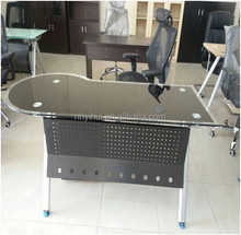 modern office furniture tempered glass office table with steel frame