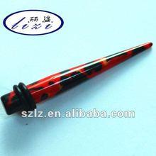 Custom body jewelry, black/red acrylic fake ear taper, ear stretcher