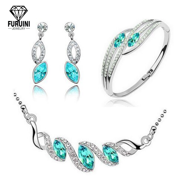 핫이슈 925 Sterling Silver Wedding Jewelry Set 대 한 신부 Women