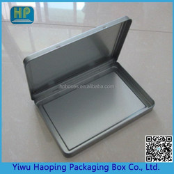Plain Flat Rectangular Clamshell Tin box With Hinged Lid for business Greeting Card