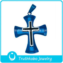 Custom Design Fashion 316L Stainless Steel Easter Charms Christian Two Tone Pendant Jesus Cross Muslim Charms Finish In Blue