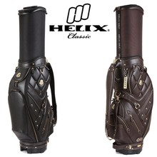 Helix genuine leather golf cart bag with wheels / real leather golf bag