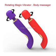 Newest full silicone surface USB magnet charging wireless rotation vibrator, best sex toy magic wand massager