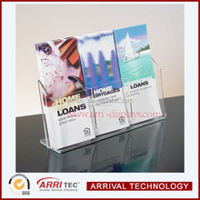 3 component desktop clear acrylic promotional brochure holder table display stand for leaflet