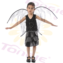 Hot sales high quality Kids halloween costumes girls sexy black witch costume with black wing
