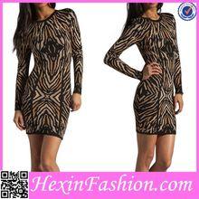 Brown&Black Line Design Celebrity Bodycon Dress Lingerie