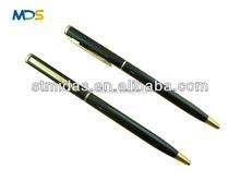 slim ballpoint pen, promotional hotel pen, thin twist metal ball pen MDS-B2047