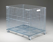 Folding and Stackable Steel Wire Mesh Storage Cage with Casters