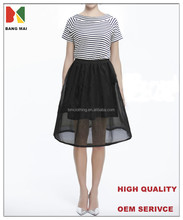 2015 fashion dress for girls with organza fabric on bottom, short sleeve striped dress for girls