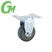 W09X 10cm grey fixed industrial rubber caster
