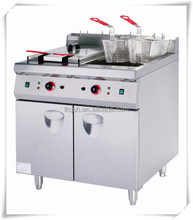 Electric Double Tanks Four Sieves Deep Fryer with Lower Cabinet