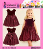 Europe Hot Selling New Style Casual Dress Wine Red One Piece Flower Children Girls Dress Designs