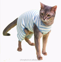 Cat Clothes wholesale/Stripe Printed Design Pet Sleepwear/ Cat Pajamas With Four Legs For Spring