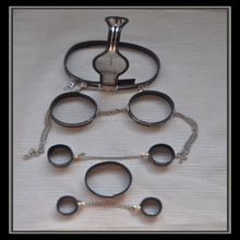 Novelty Male stainless steel chastity device+collar+handcuff+thigh ring+ankle cuff sets sex toys